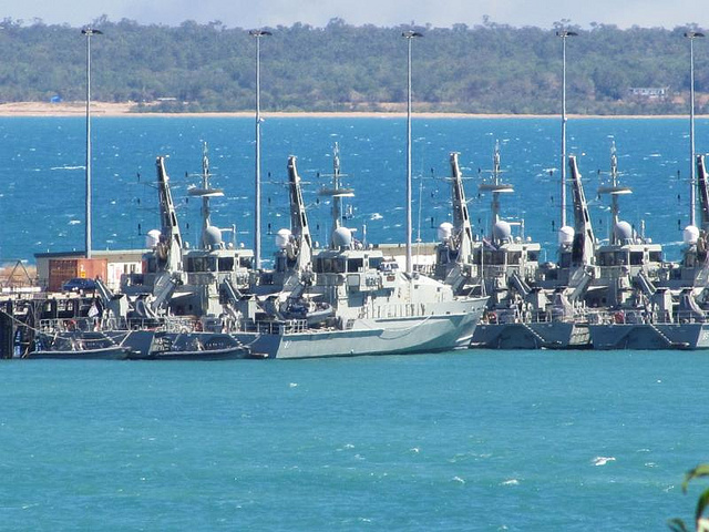 Armidale Class patrol boats berthed at Darwin