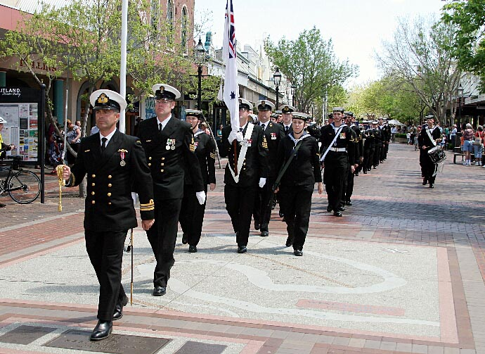 HMAS Maitland crew march past