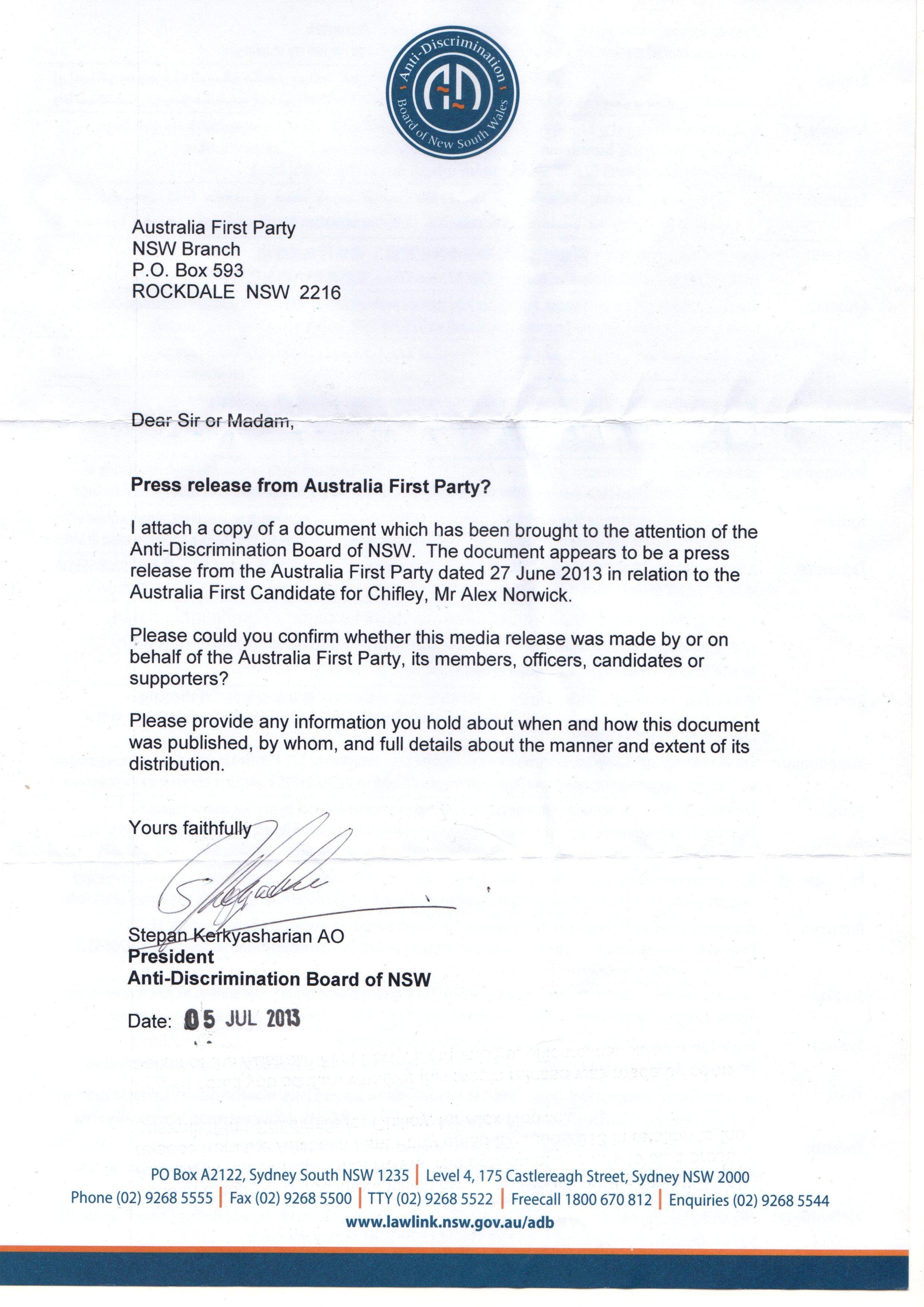 Stepan Kerkasharian Intimidation Letter