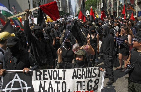 Black Bloc Anarchists protest against G8