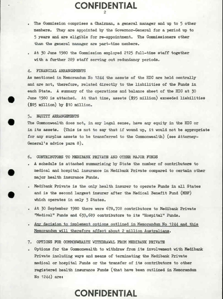 Fraser Cabinet Medibank Private Document
