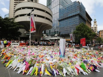 Flowers of Sydney respect for the Lindt Cafe terror victims