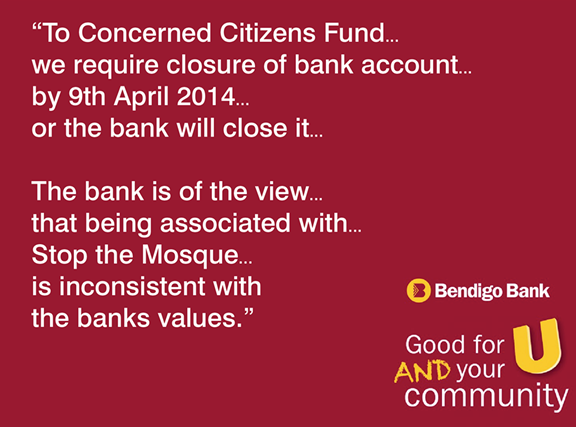Bendigo Bank closes account