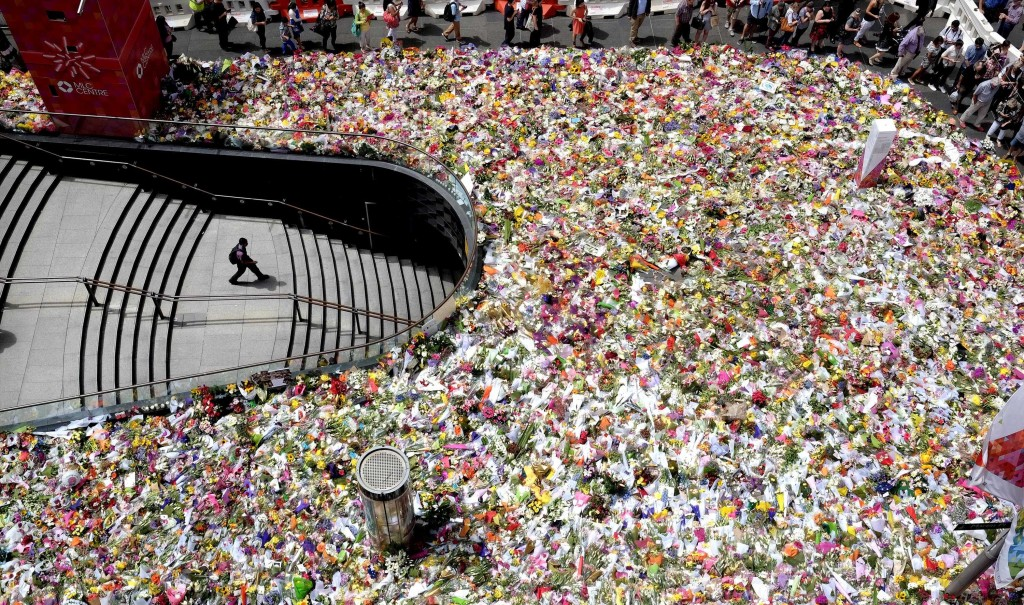 Martin Place flowers for Lindt Cafe victims
