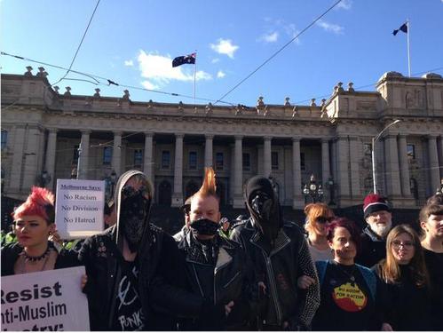Black Block Lefties get their photos taken