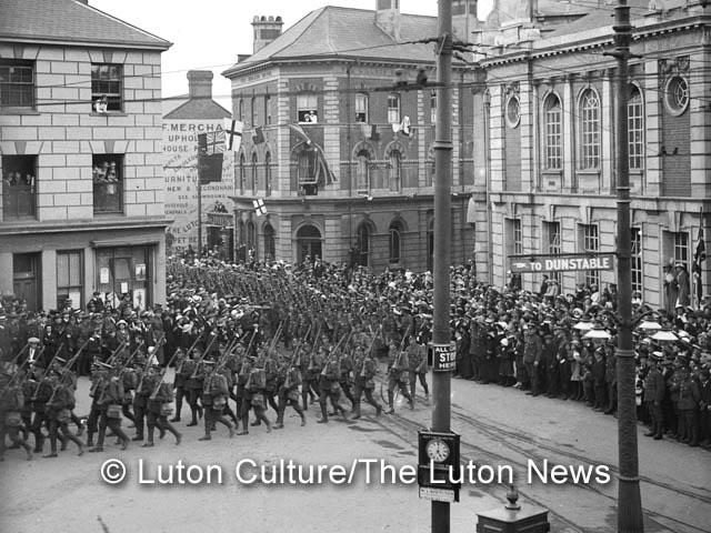 5th Batallion Bedfordshire Regiment marches through Luton August 6th, 1914
