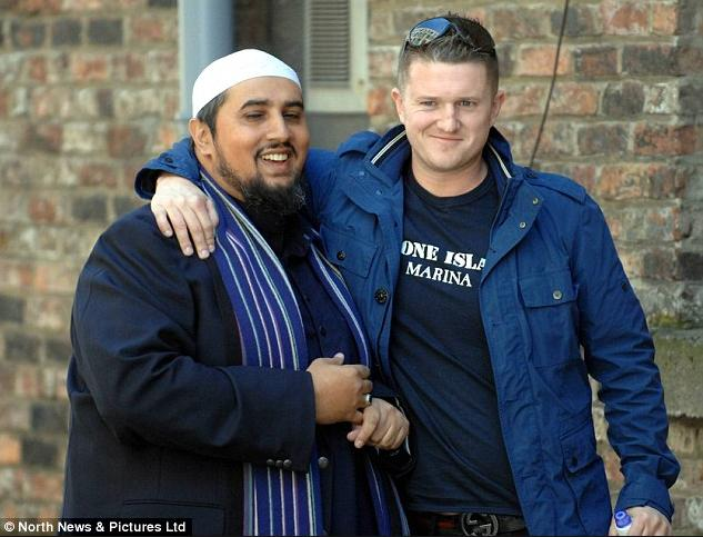 Tommy Robinson hugs muzzie Mohammed Ansar