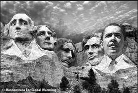Blackened Mount Rushmore