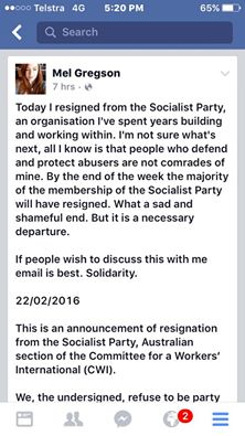 Mel Gregson resigns from Socialist Party