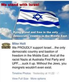 Mike Holt proudly supports Israel in Australia
