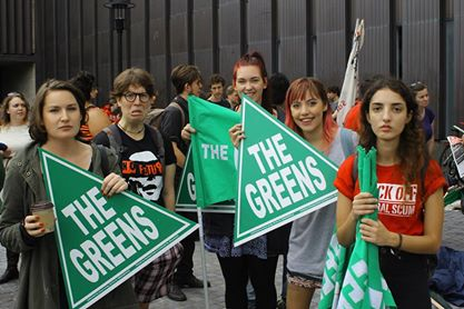 ANTIFA anarchists protest with The Greens