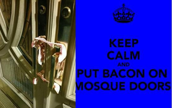 Bacon on mosque doors