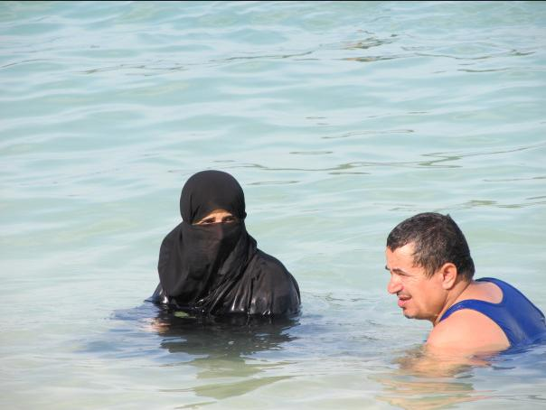 Muslims at the local swimming pool