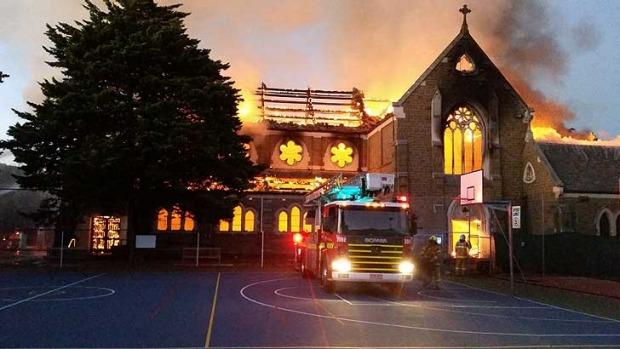 St James Catholic Church burned