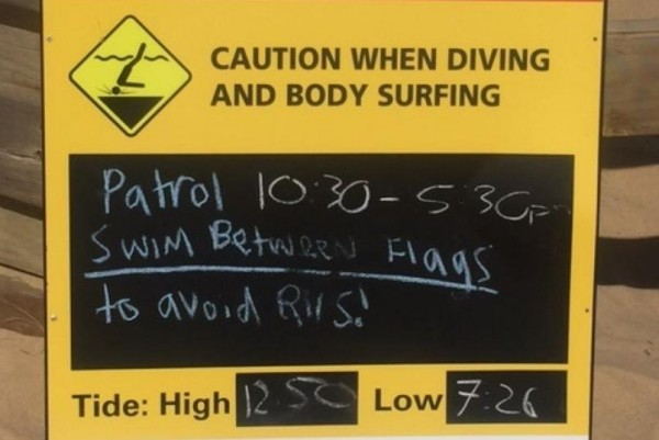 Woolamai Beach SLSC explicit warning about rips