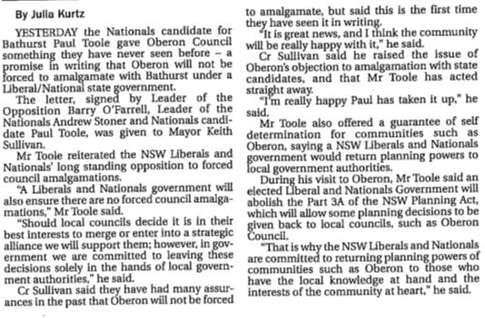 Paul Toole's promise to Oberon Council