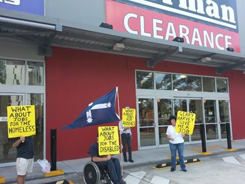 Protest Rally outside Harvey Norman