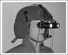 Pilot helmet fitted with dodgy night goggles