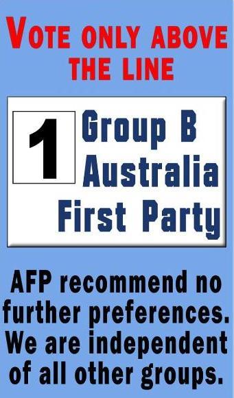 Blacktown Election Vote 1 Australia First Party