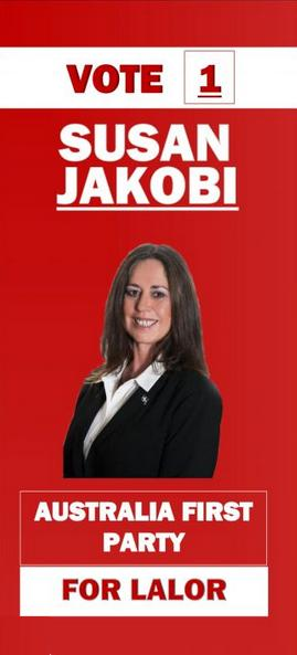 Vote 1 Susan Jakobi for Lalor